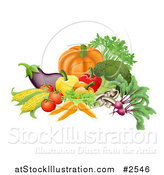 Vector Illustration of 3d Vegetables Arranged Together by AtStockIllustration