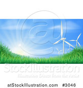 Vector Illustration of 3d Wind Turbines and Sunshine over Grassy Hills for Green Sustainable Energy by AtStockIllustration