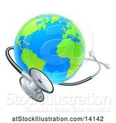 Vector Illustration of 3d World Earth Globe with a Medical Stethoscope by AtStockIllustration