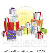 Vector Illustration of 3d Wrapped Birthday or Christmas Gifts by AtStockIllustration