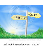 Vector Illustration of 3d Yellow Accept or Refuse Arrow Signs over Grassy Hills and a Sunrise by AtStockIllustration
