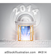 Vector Illustration of a 2014 over Open French Doors in a Marble Doorway with Blue Light by AtStockIllustration