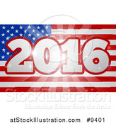 Vector Illustration of a 2016 Burst over an American Flag and Fireworks by AtStockIllustration
