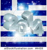 Vector Illustration of a 3d 2014 and Fireworks over a Greek Flag by AtStockIllustration