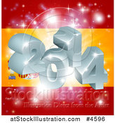Vector Illustration of a 3d 2014 and Fireworks over a Spanish Flag by AtStockIllustration
