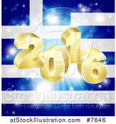 Vector Illustration of a 3d 2016 and Fireworks over a Greek Flag by AtStockIllustration