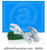 Vector Illustration of a 3d Adjustable Wrench and Hammer in Front of Blueprint Paper by AtStockIllustration