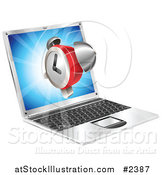 Vector Illustration of a 3d Alarm Clock Floating over a Laptop Computer by AtStockIllustration