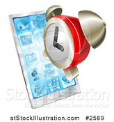Vector Illustration of a 3d Alarm Clock over a Smart Phone by AtStockIllustration