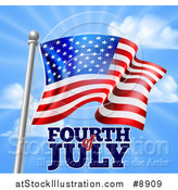 Vector Illustration of a 3d American Flag and Fourth of July Text over Blue Sky by AtStockIllustration