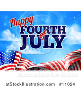 Vector Illustration of a 3d American Flag and Fourth of July Text over Blue Sky with Flares by AtStockIllustration
