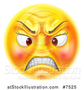 Vector Illustration of a 3d Angry Yellow Female Smiley Emoji Emoticon Face by AtStockIllustration