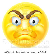 Vector Illustration of a 3d Angry Yellow Male Smiley Emoji Emoticon Face by AtStockIllustration