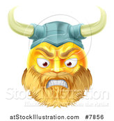 Vector Illustration of a 3d Angry Yellow Male Smiley Emoji Emoticon Viking Warrior Face by AtStockIllustration