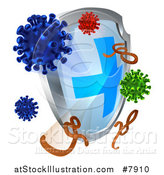 Vector Illustration of a 3d Antivirus Shield Deflecting Viruses, Germs and Bacteria by AtStockIllustration
