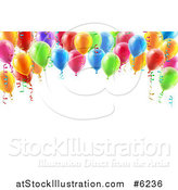 Vector Illustration of a 3d Arch of Colorful Birthday Party Balloons over Text Space by AtStockIllustration