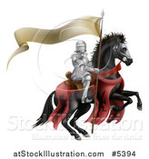 Vector Illustration of a 3d Armoured Knight on a Black Steed, with a Ribbon Banner Flag by AtStockIllustration