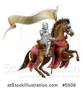 Vector Illustration of a 3d Armoured Knight on a Steed, with a Ribbon Banner Flag by AtStockIllustration