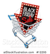 Vector Illustration of a 3d Arrow Marquee Sign with Black Friday Sale Text in a Shopping Cart by AtStockIllustration