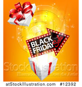 Vector Illustration of a 3d Arrow Marquee Sign with Black Friday Sale Text over a Gift Box by AtStockIllustration