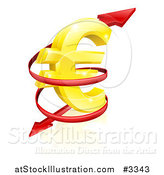 Vector Illustration of a 3d Arrow Spiraling Around a Golden Euro Currency Symbol by AtStockIllustration
