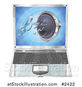 Vector Illustration of a 3d Audio Speaker Emerging from a Laptop Computer by AtStockIllustration