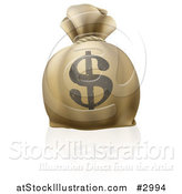 Vector Illustration of a 3d Bank Money Bag with a Dollar Symbol on the Exterior by AtStockIllustration