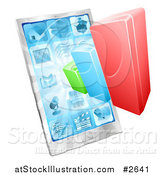 Vector Illustration of a 3d Bar Graph and Touch Screen Cell Phone by AtStockIllustration