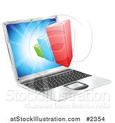 Vector Illustration of a 3d Bar Graph Emerging from a Laptop Computer by AtStockIllustration