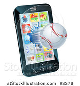 Vector Illustration of a 3d Baseball Flying Through and Breaking a Cell Phone Screen by AtStockIllustration