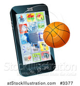 Vector Illustration of a 3d Baseketball Flying Through and Breaking a Cell Phone Screen by AtStockIllustration