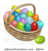 Vector Illustration of a 3d Basket and Colorful Easter Eggs by AtStockIllustration