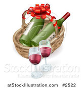 Vector Illustration of a 3d Basket with Wine Bottles and Glasses by AtStockIllustration