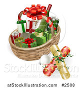 Vector Illustration of a 3d Basket with Wine Crackers Baubles and Christmas Gifts by AtStockIllustration