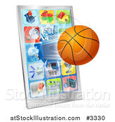 Vector Illustration of a 3d Basketball Flying Through and Breaking a Cell Phone Screen by AtStockIllustration
