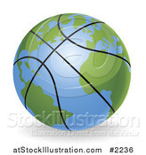 Vector Illustration of a 3d Basketball Globe by AtStockIllustration