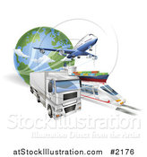 Vector Illustration of a 3d Big Rig, Train, Cargo Ship and Airplane with a Globe by AtStockIllustration