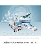 Vector Illustration of a 3d Big Rig Truck Cargo Ship Train and Airplane Leaving a City by AtStockIllustration