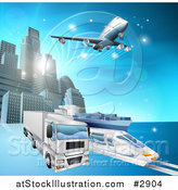 Vector Illustration of a 3d Big Rig Truck Train and Airplane Leaving a City by AtStockIllustration