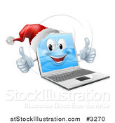 Vector Illustration of a 3d Black Friday Christmas Laptop Mascot Wearing a Santa and Holding Two Thumbs up by AtStockIllustration