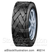 Vector Illustration of a 3d Black Rubber Car Tire and Chrome Rims by AtStockIllustration