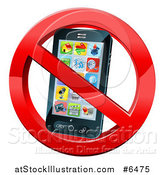 Vector Illustration of a 3d Black Touch Screen Smart Cell Phone in a Restricted Symbol by AtStockIllustration