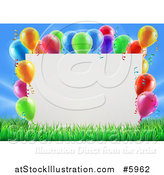 Vector Illustration of a 3d Blank Sign in Grass, Bordered in Colorful Party Balloons by AtStockIllustration