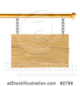Vector Illustration of a 3d Blank Wooden Sign Suspended from a Gold Rod by AtStockIllustration