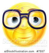 Vector Illustration of a 3d Blemished Yellow Smiley Emoji Emoticon Face Wearing Glasses by AtStockIllustration