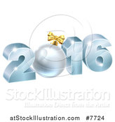 Vector Illustration of a 3d Blue 2016 for the New Year, with a Bauble by AtStockIllustration