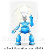 Vector Illustration of a 3d Blue and Chrome Light Bulb Headed Robot by AtStockIllustration