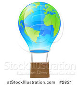 Vector Illustration of a 3d Blue and Green Globe Hot Air Balloon by AtStockIllustration