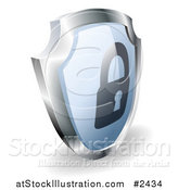 Vector Illustration of a 3d Blue and Silver Security Padlock Shield by AtStockIllustration