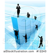 Vector Illustration of a 3d Blue Bar Graph with a Silhouetted Business Woman on Top and and Men Climbing by AtStockIllustration